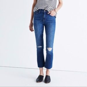 "Madewell 10"" High Riser Demi Boot Frayed Jeans"